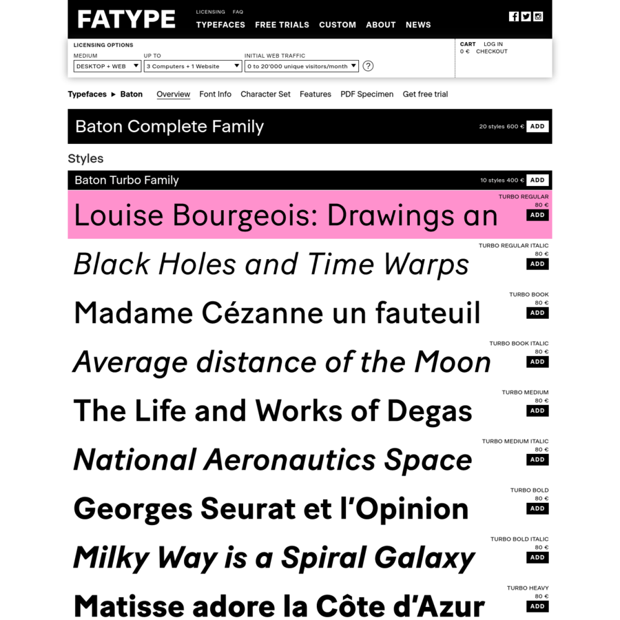 Fatype distributes original retail typefaces and creates custom fonts.