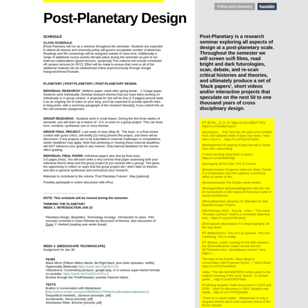 SCHEDULE - Post-Planetary Design