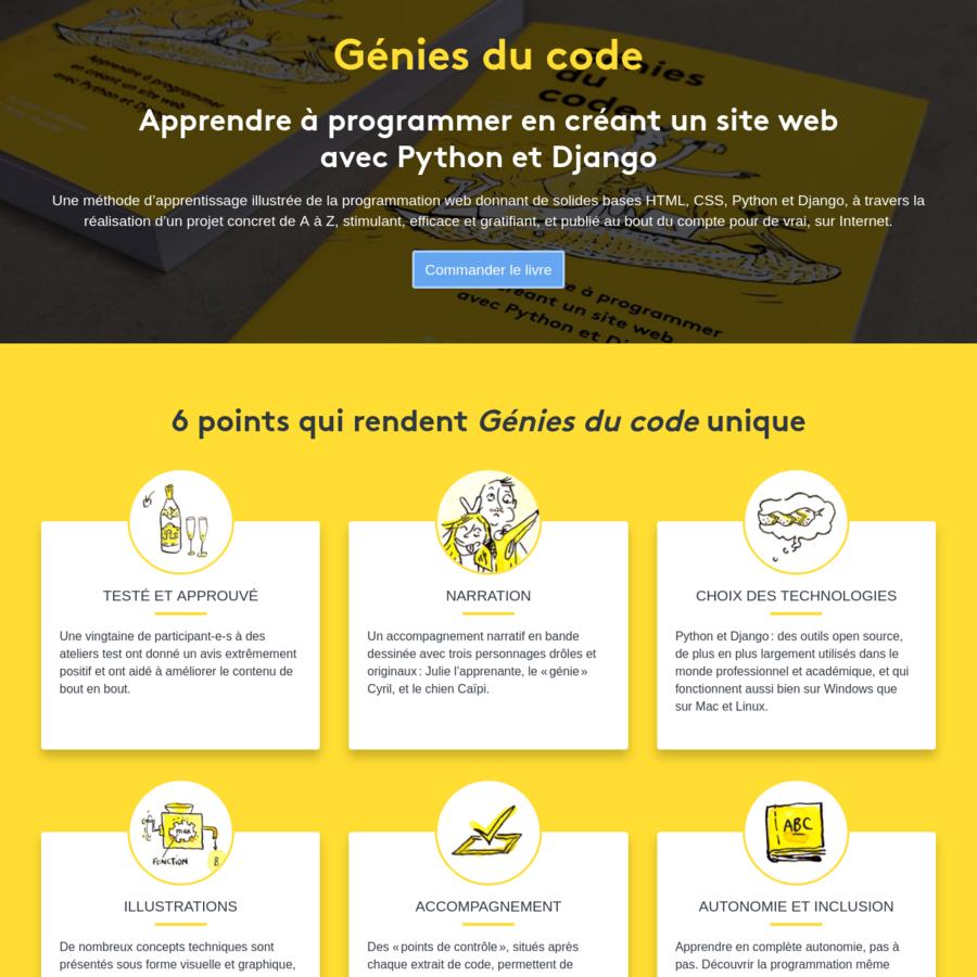 Apprenez à programmer avec Génies du code, une méthode illustrée donnant de solides bases HTML, CSS, Python et Django.