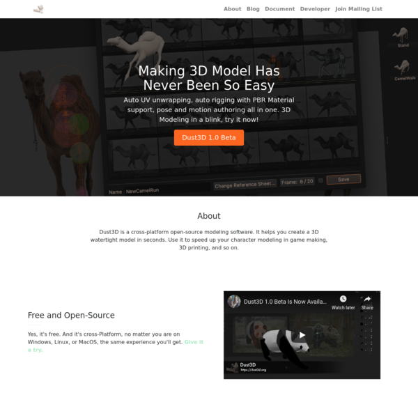 Dust3D | Free 3D Modeling Software