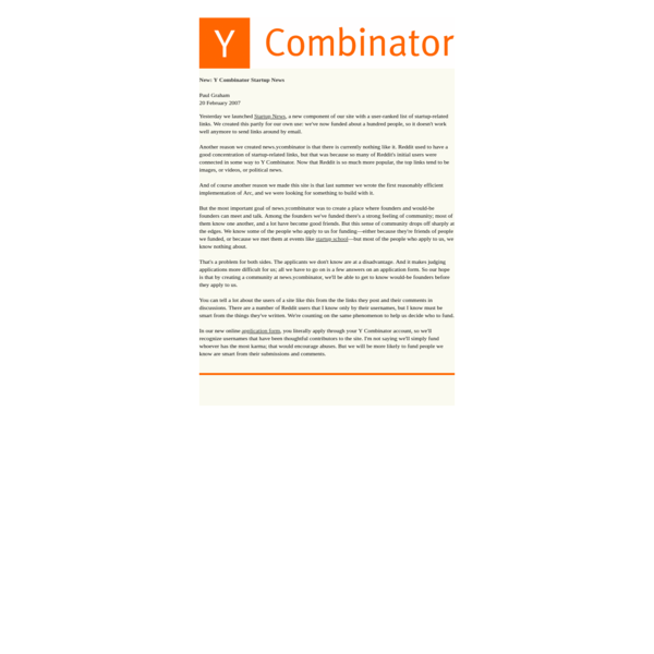 Announcing Y Combinator Startup News