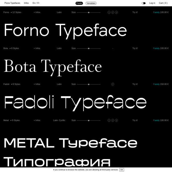 Pizza Typefaces is an independent type design foundry based in Paris. We bake and distribute flavored fonts.