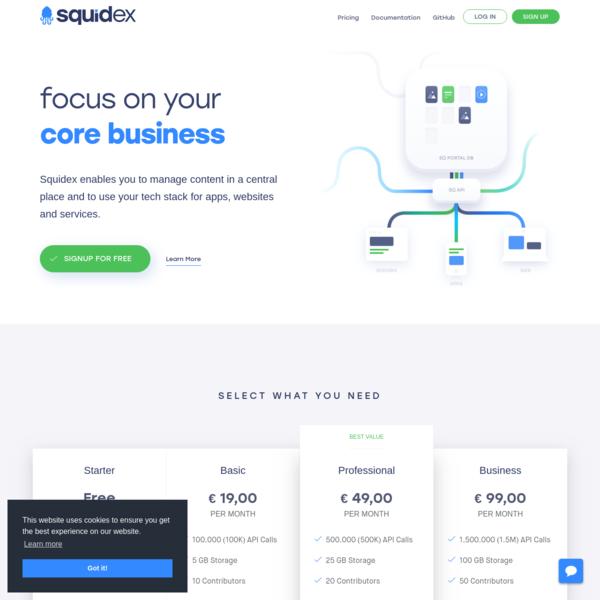 Squidex - an OpenSource Headless CMS, a CMS with an API