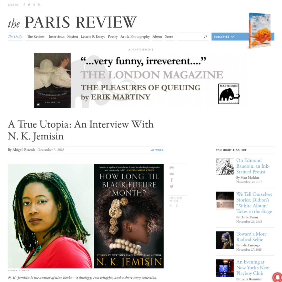 N. K. Jemisin is the author of nine books-a duology, two trilogies, and a short story collection. The last of those, How Long 'til Black Future Month?, is her most recent.