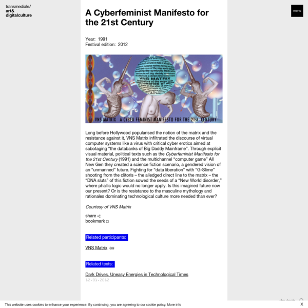 A Cyberfeminist Manifesto for the 21st Century | transmediale