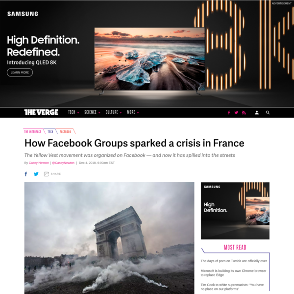 The Interface is a daily column about the intersection of social media and democracy. Subscribe to the newsletter here. Over the weekend, violence broke out in France, with more than 280,000 protesters fanning out across the country in what is known as the Gilets Jaunes (Yellow Vests) movement.