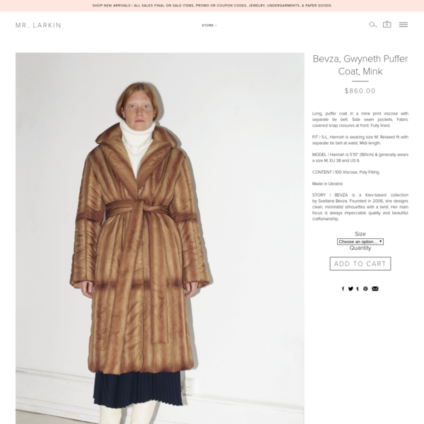 BEVZA, Gwyneth Puffer Coat, Mink  