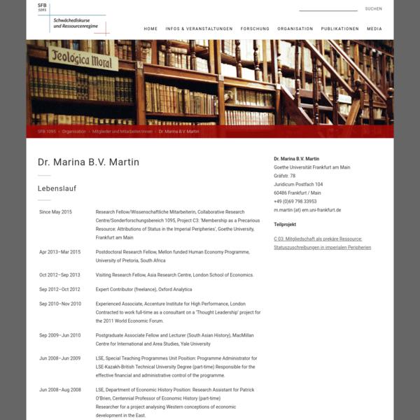 SFB1095 - Schwächediskurse und Ressourcenregime - Dr. Marina B.V. Martin