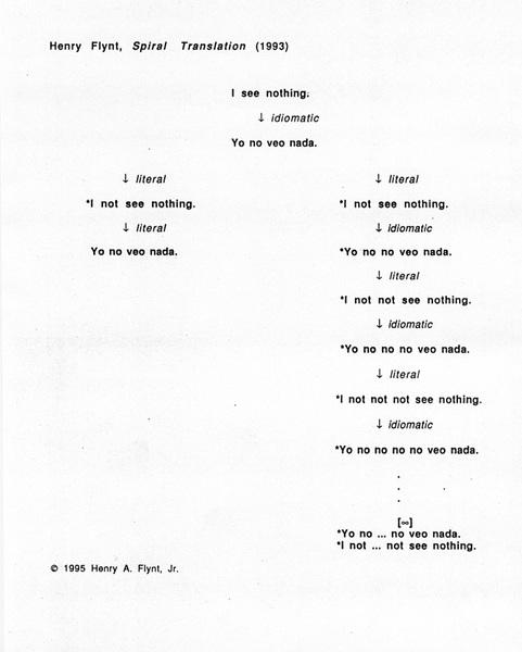 Henry Flynt, Spiral Translation, 1993