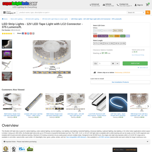 LED Strip Lights - 12V LED Tape Light with LC2 Connector - 375 Lumens/ft. | Super Bright LEDs