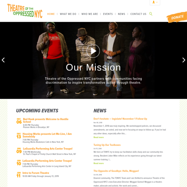 Theatre of the Oppressed NYC partners with community members at local organizations to form theatre troupes. These troupes devise and perform plays based on their challenges confronting economic inequality, racism, and other social, health and human rights injustices.