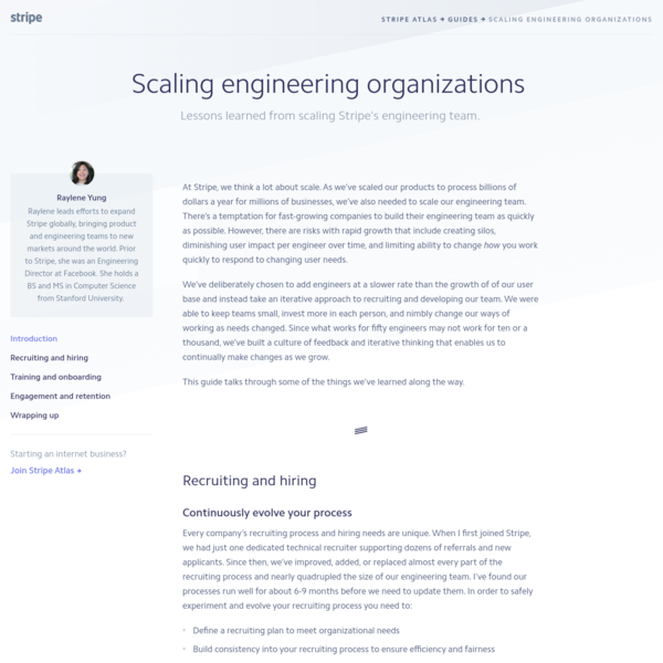 Lessons learned from scaling Stripe's engineering team.