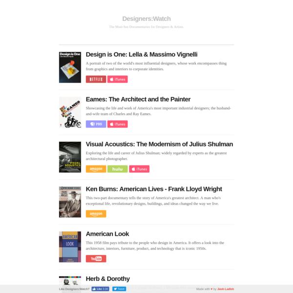Designers:Watch - The Must-See Design & Art Documentaries.