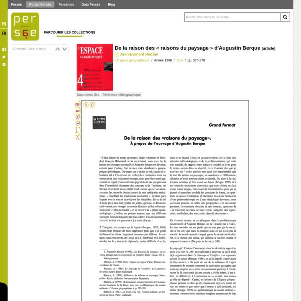 """De la raison des """" raisons du paysage """" d'Augustin Berque - Persée"""