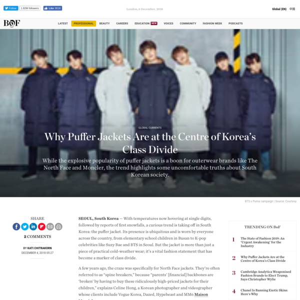 SEOUL, South Korea - With temperatures now hovering at single digits, followed by reports of first snowfalls, a curious trend is taking off in South Korea: the puffer jacket. Its presence is ubiquitous and is worn by everyone across the country, from elementary school children in Busan to K-pop celebrities like Suzy Bae and BTS in Seoul.
