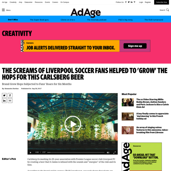 The Screams of Liverpool Soccer Fans Helped to 'Grow' the Hops for This Carlsberg Beer