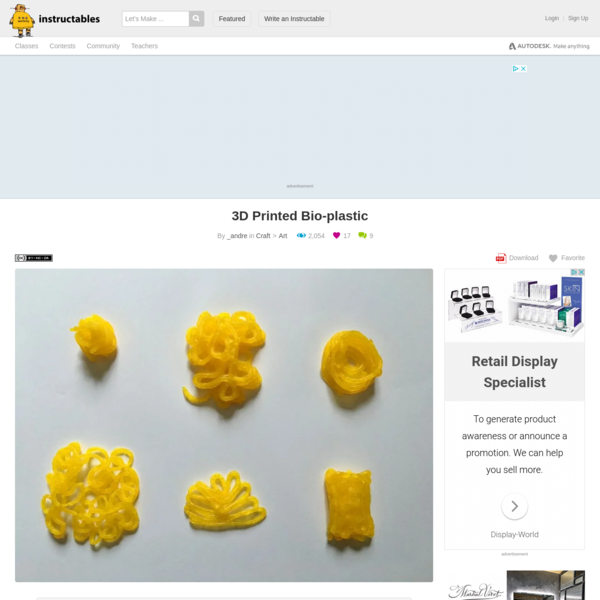 3D Printed Bio-plastic: 3D Printing is an amazing technology and gives a lot of possibilities to architects, designers and customers. But there are two things that annoy me about it. The size of a 3d print is limited and it's getting very expensive to print something tha...