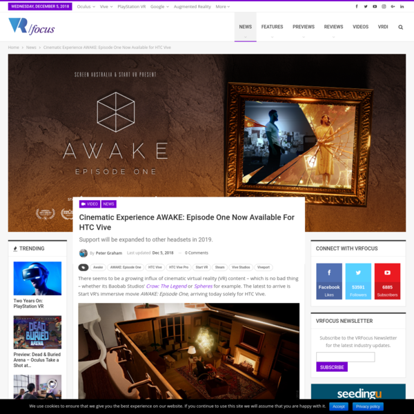Cinematic Experience AWAKE: Episode One Now Available for HTC Vive