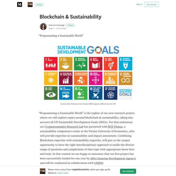 Blockchain & Sustainability - crypto3conomics - Medium