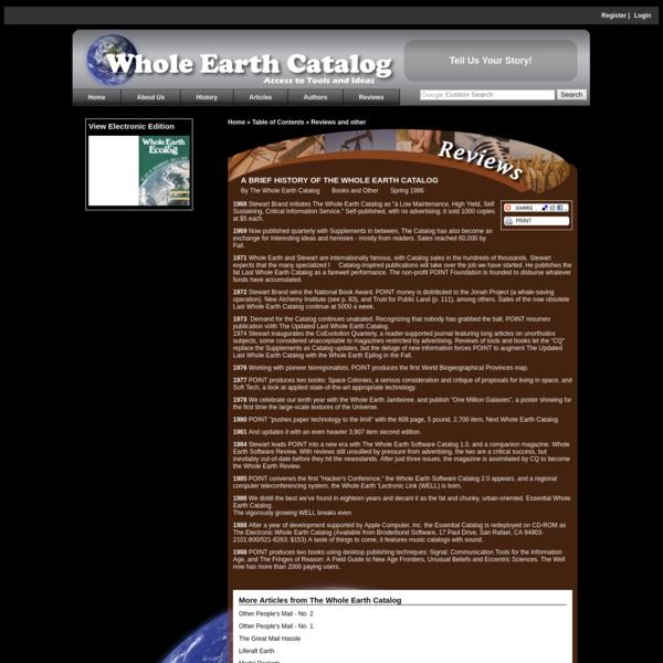 A BRIEF HISTORY OF THE WHOLE EARTH CATALOG - Tools Ideas Environment - Whole Earth Catalog