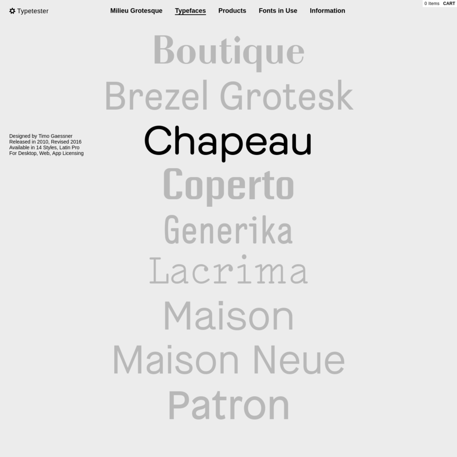Milieu Grotesque is an independent publisher and distributor of typefaces and related products.