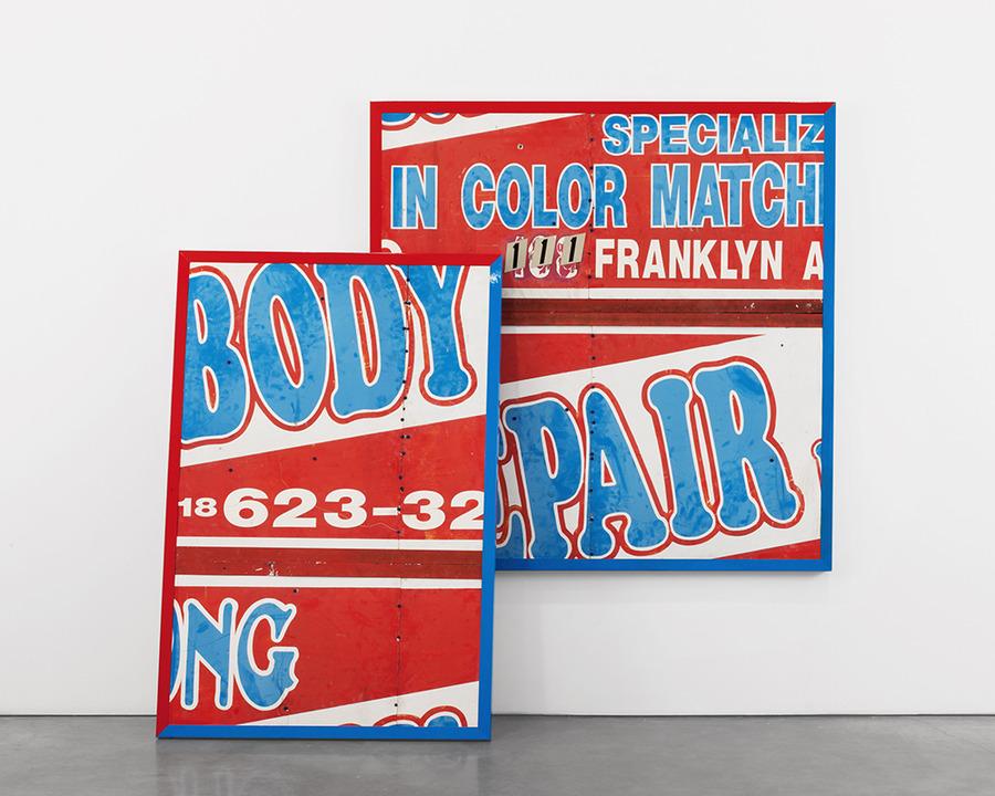 found sign with steel frame, enamel paint, concrete screws (blue) dimensions variable  Installation view [*Martha Rosler, Borna Sammak, Michael St. John*](http://www.andrearosengallery.com/exhibitions/martha-rosler-borna-sammak-michael-st-john_2014-10-31/5/checklists), Andrea Rosen Gallery, New York, NY