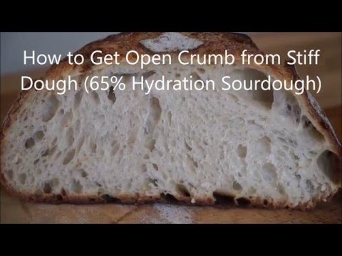 """Wet dough isn't the only way to an open crumb. For additional pictures and detailed instructions please visit: http://www.breadwerx.com/how-to-get-open-crumb-from-stiff-dough-video/ Music: """"Just a Blip"""" by Andy G. Cohen: http://freemusicarchive.org/music/Andy_G_Cohen/Through_The_Lens/Andy_G_Cohen_-_Just_A_Blip """"Young, Tough and Terrible"""" by The Losers: http://freemusicarchive.org/music/The_Losers/Young_Tough_Terrible/Young_Tough_And_Terrible"""