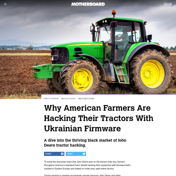 """To avoid the draconian locks that John Deere puts on the tractors they buy, farmers throughout America's heartland have started hacking their equipment with firmware that's cracked in Eastern Europe and traded on invite-only, paid online forums. Tractor hacking is growing increasingly popular because John Deere and other manufacturers have made it impossible to perform """"unauthorized"""" repair on farm equipment, which farmers see as an attack on their sovereignty and quite possibly an existential threat to their livelihood if their tractor breaks at an inopportune time."""
