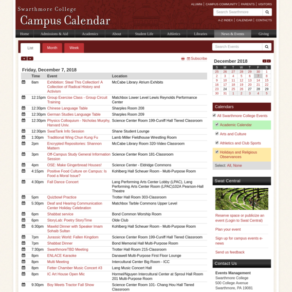 Swat Central - Swarthmore College Calendar