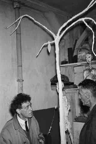 Samuel Beckett and Giacometti with tree from Waiting for Godot