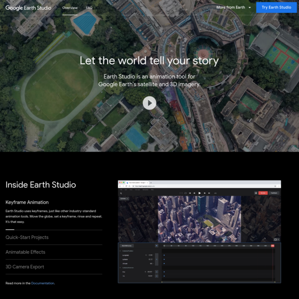 A web-based animation tool for Google Earth's satellite and 3D imagery.