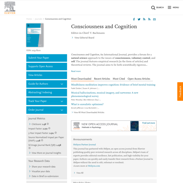 Consciousness and Cognition - Journal - Elsevier