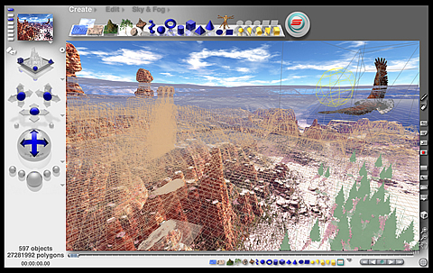 A 3D modeling, rendering and animation program specializing in fractal landscapes.