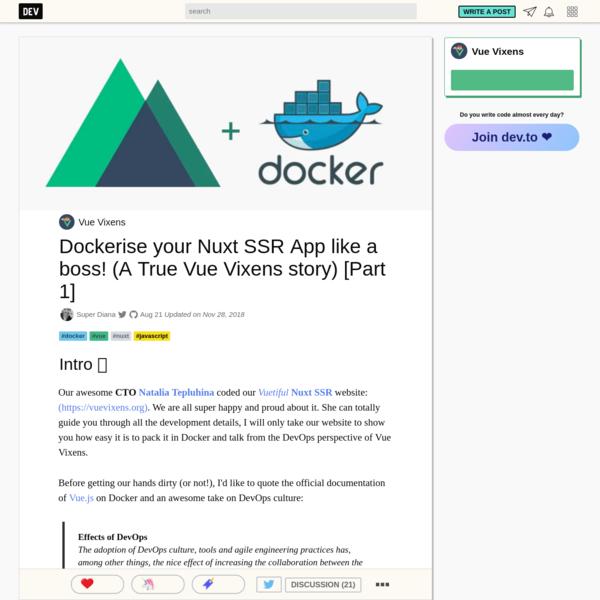 Dockerise your Nuxt SSR App like a boss! (A True Vue Vixens story) [Part 1]