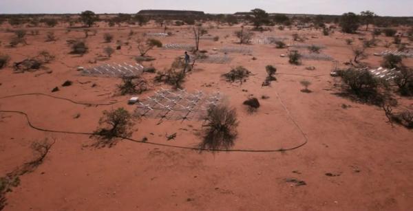 Telescope across entire desert, producing radio data. Natasha Hurley-Walker.