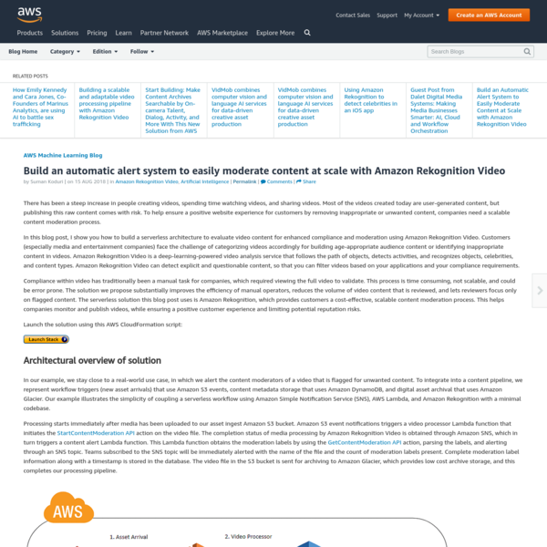 Build an automatic alert system to easily moderate content at scale with Amazon Rekognition Video | Amazon Web Services