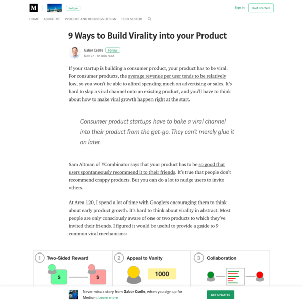 9 Ways to Build Virality into your Product - Gabor Cselle - Medium