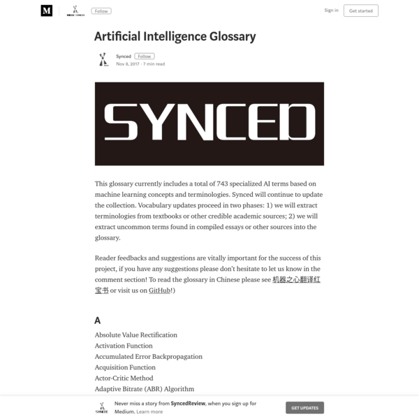 Artificial Intelligence Glossary - SyncedReview - Medium