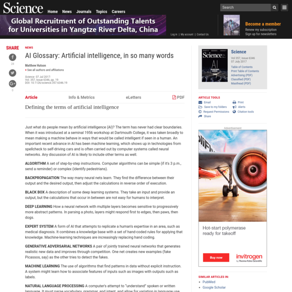AI Glossary: Artificial intelligence, in so many words