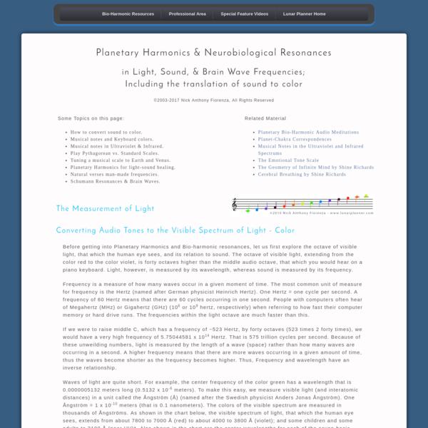 Are na / Planetary Harmonics & Neuro-biological Resonances
