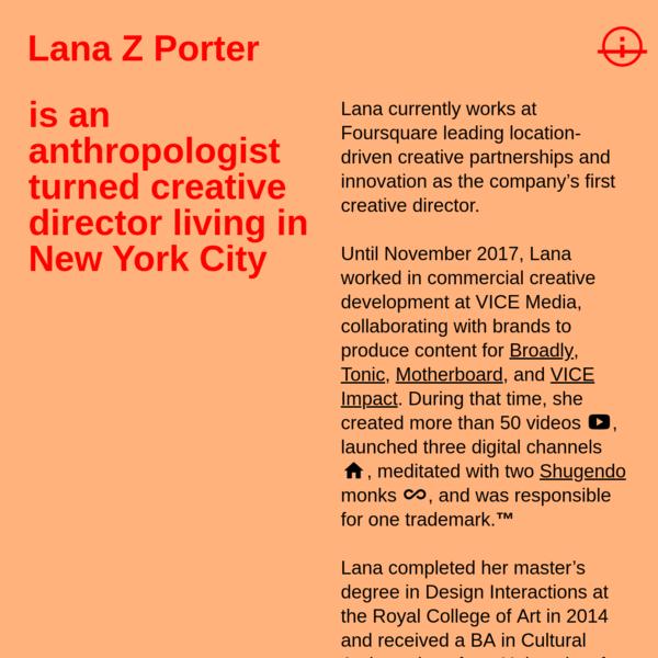 About - Lana Z Porter