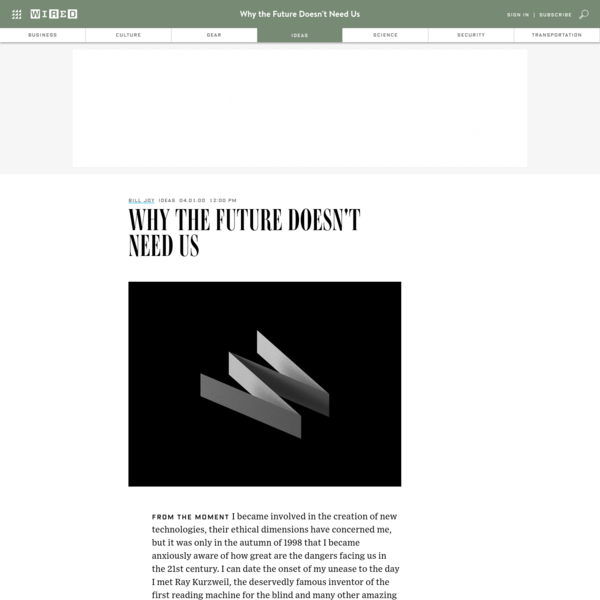 Why the Future Doesn't Need Us