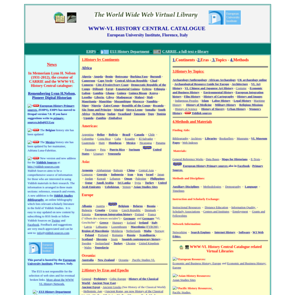 WWW-VL: World History Index and History Central Catalogue   The World Wide Virtual Library