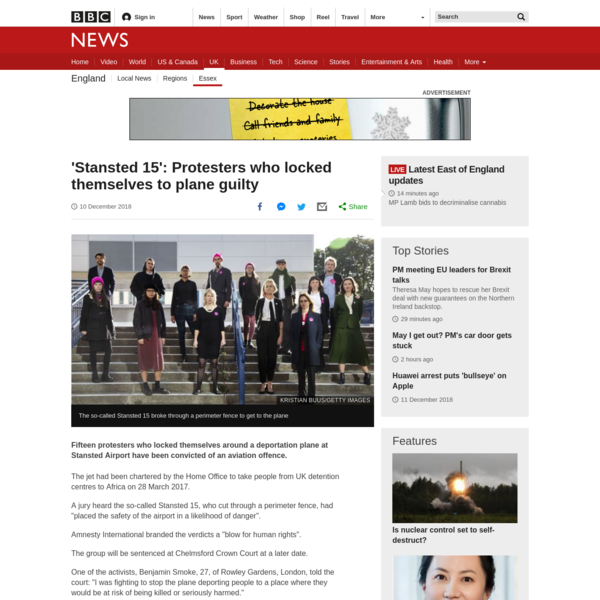 Stansted deportation jet activists guilty