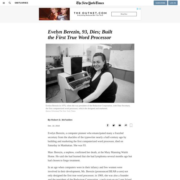 Evelyn Berezin, 93, Dies; Built the First True Word Processor