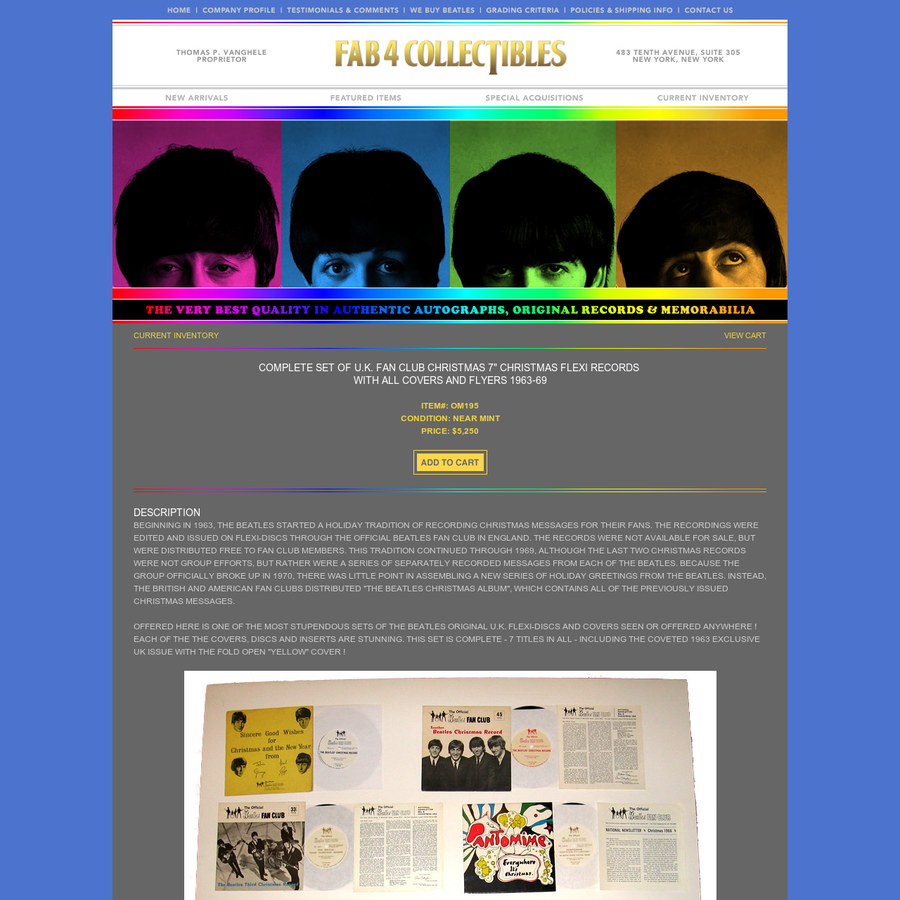 DESCRIPTION BEGINNING IN 1963, THE BEATLES STARTED A HOLIDAY TRADITION OF RECORDING CHRISTMAS MESSAGES FOR THEIR FANS. THE RECORDINGS WERE EDITED AND ISSUED ON FLEXI-DISCS THROUGH THE OFFICIAL BEATLES FAN CLUB IN ENGLAND. THE RECORDS WERE NOT AVAILABLE FOR SALE, BUT WERE DISTRIBUTED FREE TO FAN CLUB MEMBERS.