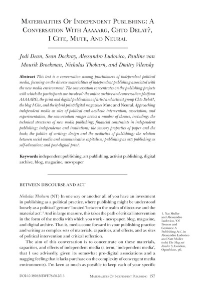 materialities of independent publishing