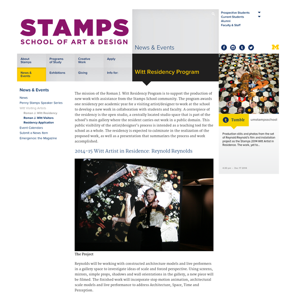 Roman J. Witt Residency Program | Penny W. Stamps School of Art & Design at the University of Michigan