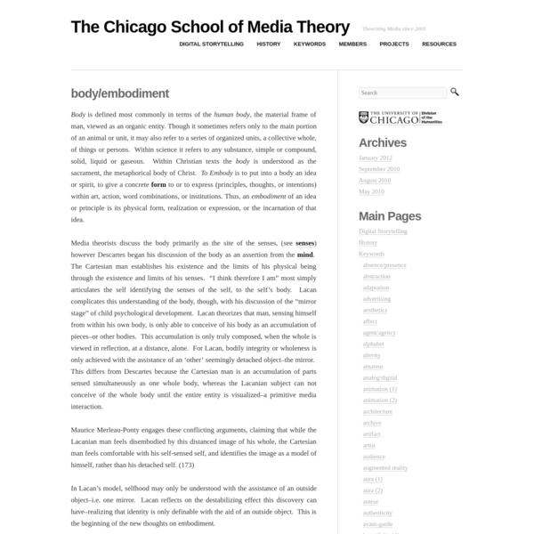 body/embodiment | The Chicago School of Media Theory