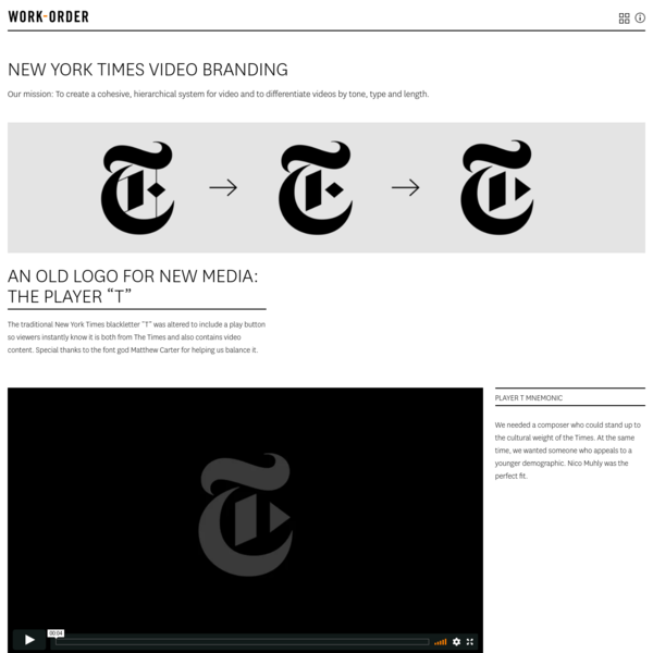 The New York Times Video Branding - Work-Order